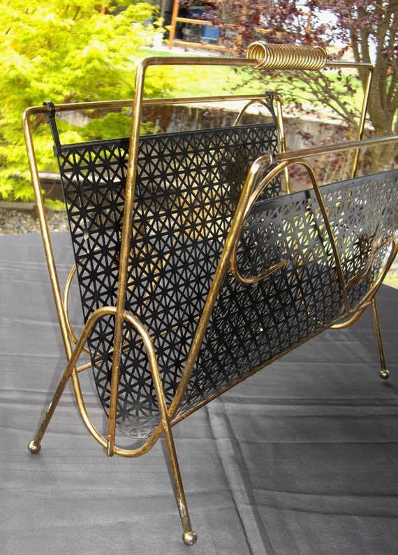 VINTAGE Mid Century Earl Eames Era 1950's Black and Gold Magazine Rack