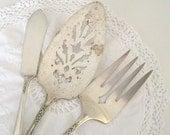 HAPPY HOLIDAYS SALE - antique silver plate serving set
