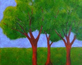 """summer landscape painting, vibrant green trees, FREE SHIPPING, titled """"trio con brio"""""""