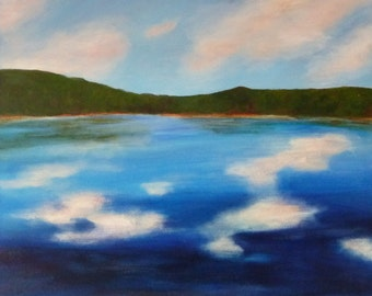 maine lake painting, maine art, clouds reflecting on maine lake, maine artist, framed, FREE US SHIPPING