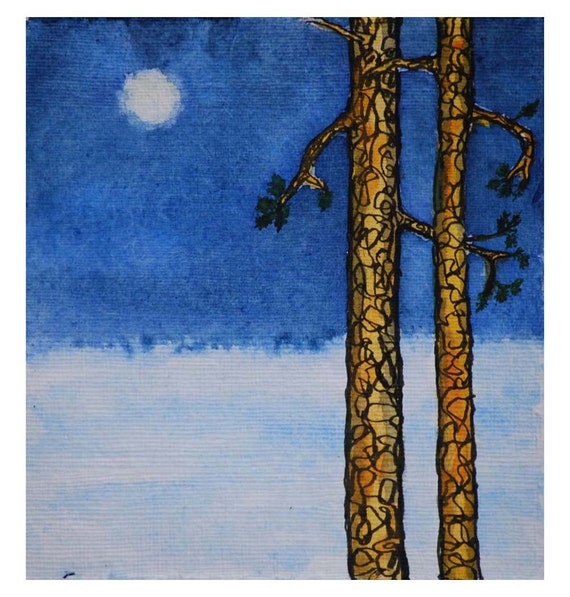 Painting of Norway Pines with Full Moon (Framed)