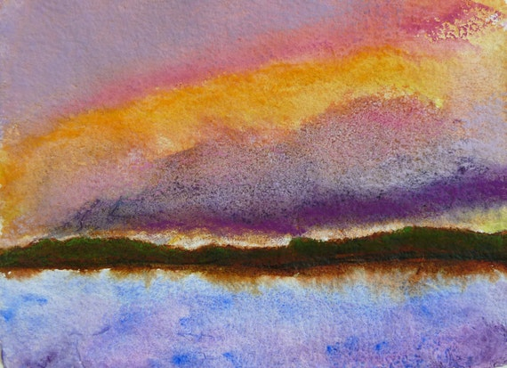 painting, maine lake at sunset, with lilac and pink clouds