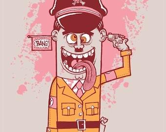 The Demise of a Cartoon Dictator silkscreen art print.