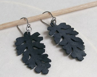 Lacy Leaf Silhouette Earrings - upcycled bicycle inner tubes