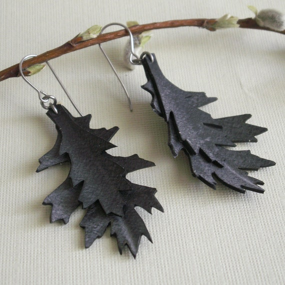 Upcycled Oak Leaf Earrings- hand cut bicycle inner tube