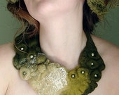 Felted Eco Fashion Collar DEEP FOREST (Made to Order)