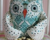 whoot whoot Plush Good Luck Owl   Friend cotton FABRICs and cream chenille Poke ablue