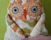 Petite whoot whoot Plush Good Luck Owl   Friend cotton FABRICs and cream chenille modern Peach designer