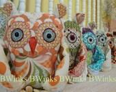 Stuffed Animial Owl Friend - Decor Owl Pillow - By BWinks - Modern Peach Designer - LAST ONE