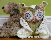 LAST ONE - whoot whoot Plush Good Luck Owl   Friend cotton FABRICs and cream chenille Brown Floral Explosion