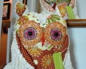 Whoot whoot Plush Good Luck Owl Friend cotton fabrics and cream chenille Cinnamon Sage