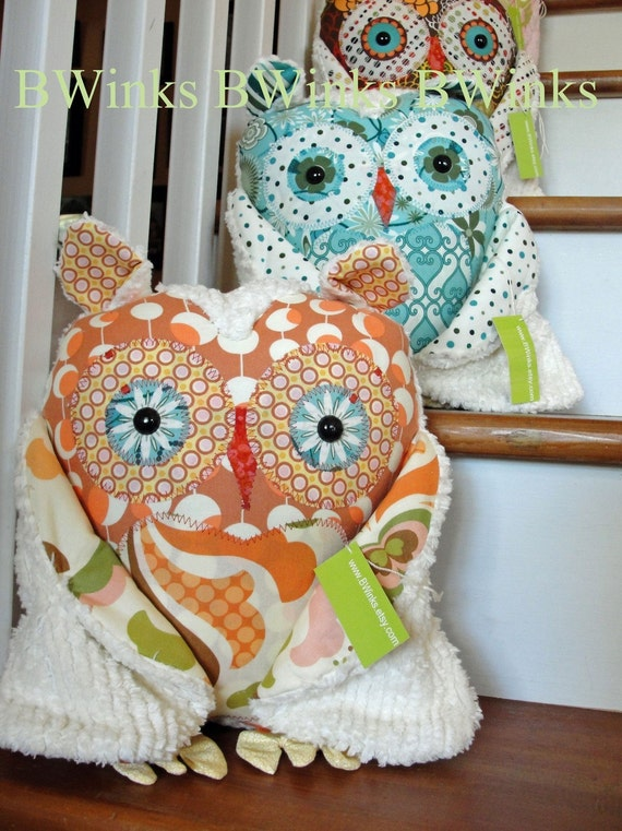 LAST ONE - Big whoot whoot Plush Good Luck Owl   Friend cotton FABRICs and cream chenille modern Peach designer