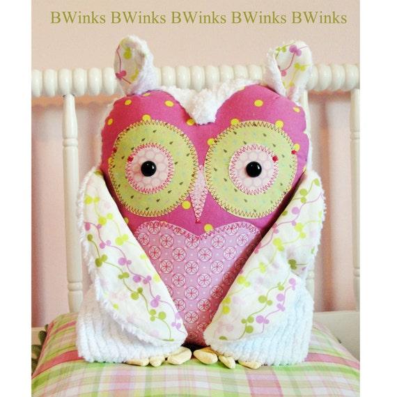 Stuffed owl  - Plush Owl - Owl Stuffed Pillow - Girl - Pink -  BIG BWinks Handmade Owl - No. 5