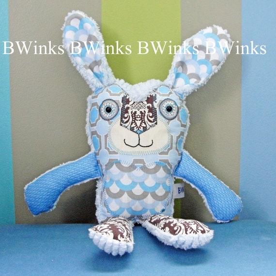 Stuffed Rabbit Animal Easter Bunny Pillow - stuffed bunny pillow Rabbit pillow friend --- Cotton Blue Geo