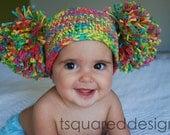Adorable Carosel Rainbow CUSTOM Crocheted Pom Pom Hat, Custom Made to Order