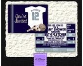 Printed Jersey Onesie/ Ticket Custom Invitations with envelopes