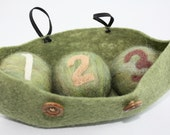 Needle Felted Peas ball in a pod