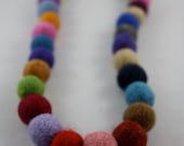custom order for mara1963 2necklaces felt balls multicolor necklace for an adult and kids Natural wool felt balls