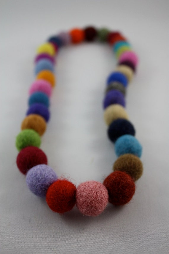 felt balls multicolor necklace for an adult and kids Natural wool accessories