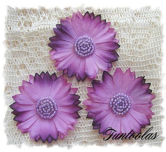 Tessa - 2 inch Silk Daisy Purple Set of 3