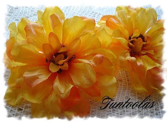 Zoey - 3 1/4 inch Zinnia Silk Flower Yellow Set of 2.