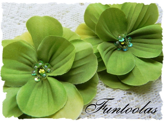 Heidi - 3  inch Layered Silk  Flower with Rhinestone Center Lime Set of 2