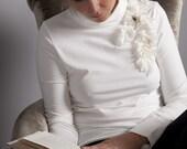 ON SALE-Ivory Long Sleeve Embellished Turtle Neck Tee-Size-12- Medium or Large - OOAK