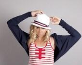 Navy Blue Shrug, Long Sleeve Jersey Shrug Bolero, Batwing Cardigan, Coastal Fashion, Nautical, Sailor