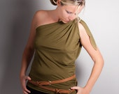 ON SALE  One Shoulder Top Olive Green // Assymmetrical // Size Small - Medium // Two Ways to Wear