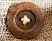 Giant Rustic Wood Button Brooch
