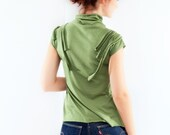 ON SALE Asparagus Green Textured Shirt, Cable Applique, Size XSmall-Small, Summer Fashion