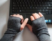 Mens Fingerless Gloves, Charcoal Grey Arm Warmers for Men, Valentines gift for him