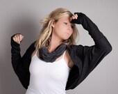 Black Shrug Cardigan-Long Sleeved Jersey Shrug in Charcoal Black- Oversized Bolero Shrug by MoonHalo