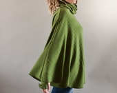 Women Pullover Poncho in Moss Green, Cape Poncho, Plus Size Poncho, Poncho Blouse