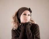 Adult Bow Hairband and Bow Fingerless Gloves SET, Brown Headwrap, Head warmer, Ear warmer, Ear muff