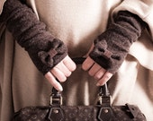 Ladies Fingerless Gloves with Bows, Retro Gloves in Brown Angora Jersey