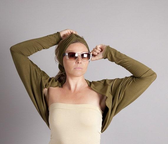 ON SALE-Olive Green Shrug Bolero-Oversized Batwing Cardigan-Long Sleeved Shrug Cardigan in Green Jersey-Women Fashion by MoonHalo
