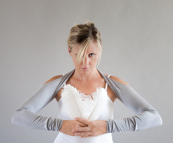Extra Long Arm Warmers, Pearl Grey Suspender Sleeves, Size Medium, tattoo cover ups, yoga sleeves
