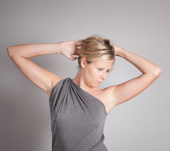 Christmas in July 50% OFF SALE - One Shoulder Top, Asymmetric, Grey Marl, Size XSmall CIJ