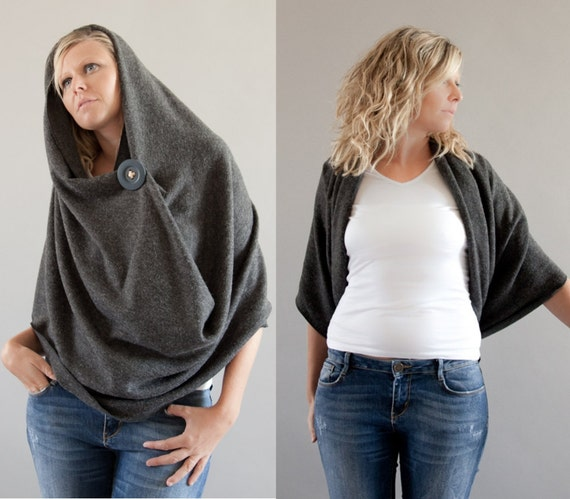 Infinity Scarf, 5 in 1 Circular Winter Wrap, Chunky Cowl, Shrug, Hood, Skirt, Charcoal Grey Holiday Fashion
