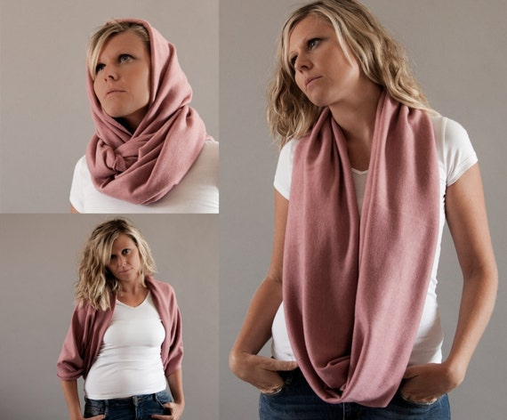 Oversized Infinity Scarf-Angora Jersey Winter Chunky Cowl-Soft Dusty Pink Snood-Wrap Skirt Winter-Big Circle Scarf-Vegan Scarf by MoonHalo