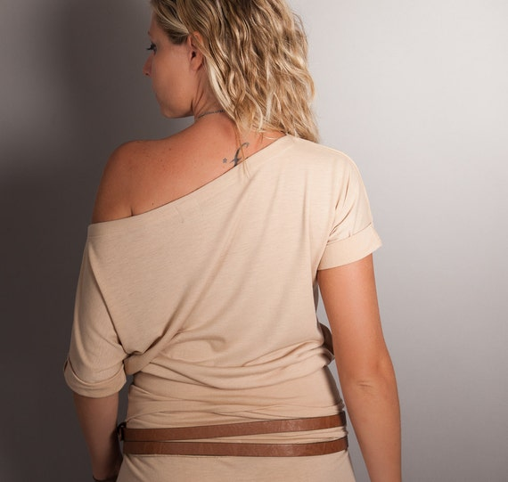 Christmas in July, CIJ 50% OFF SALE Off the Shoulder Shirt in Nude, Size Small- Medium, Womens High Waisted  Top, Blouse, Tshirt