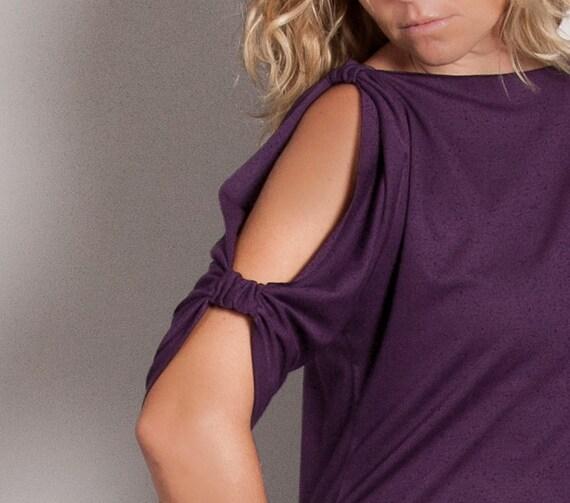 ON SALE-Purple Cold Shoulder Shirt , Off Shoulder Top, Spring Summer Fashion, Size Small