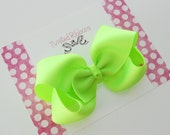 Neon Yellow Hair Bow Boutique Style