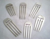 CHEESE MARKERS - 6 PC Vintage Forks Stamped Silverplate Forks, Hostess Gift, Wine Cheese Tasting