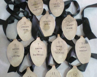 Spoon Ornament Set 12 Days of Christmas Stamped Antique & Vintage Silverware Holiday