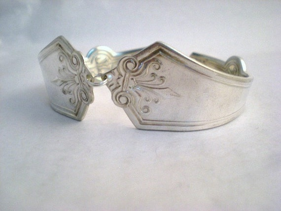 Victorian Spoon Bracelet, Antique Silverware, Flatware Spoon Jewelry, Silver Anniversary - PERSIAN 1871