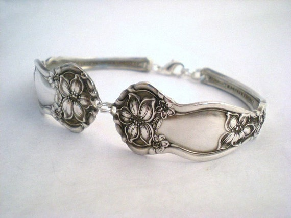 ORANGE BLOSSOM 1910 - Spoon Bracelet Antique Upcycled Silverplate - Silverware Jewelry