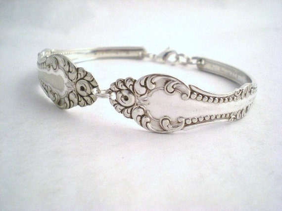 CARLTON 1898 - Antique Upcycled Silverplate Spoon Bracelet - Silverware Flatware Jewelry