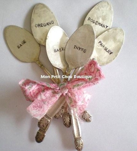Sale Spoon Garden Markers - PICK 6 PERSONALIZE -  6 PC Set personalized / custom - Upcycled Vintage Silverplated Spoon